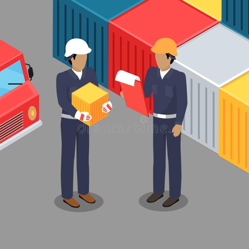 Εργαζόμενος και επιστάτης φορτίου που μιλούν στην αποθήκη εμπορευμάτων απεικόνιση αποθεμάτων