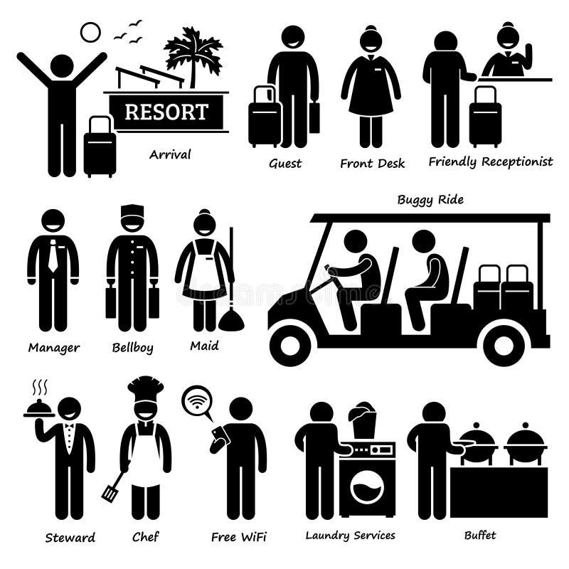 Εργαζόμενος και υπηρεσίες Cliparts τουριστών ξενοδοχείων βιλών θερέτρου απεικόνιση αποθεμάτων