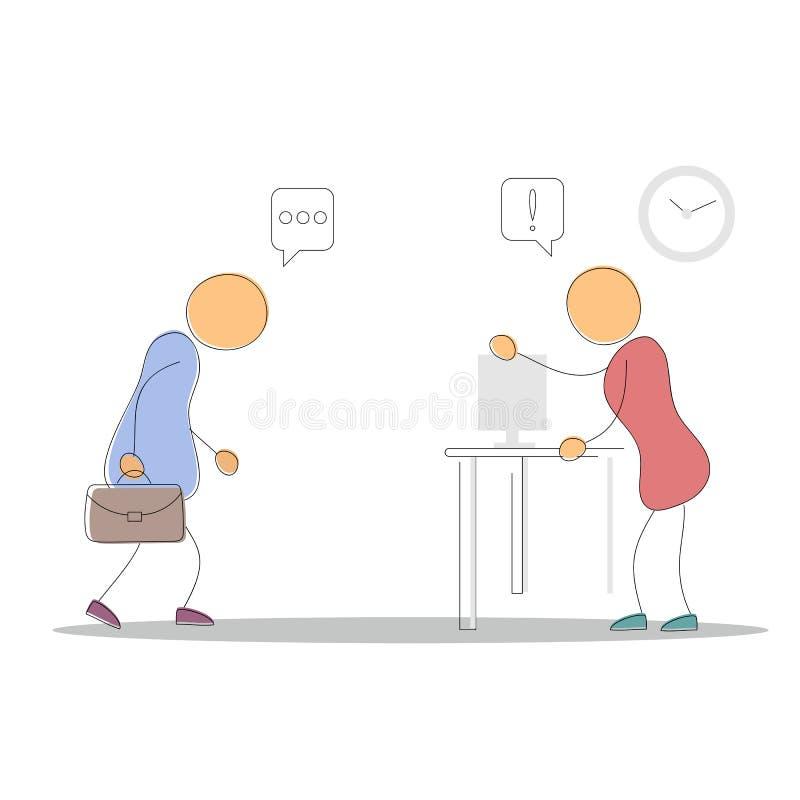 Εργαζόμενος κεφαλιών και γραφείων διανυσματική απεικόνιση