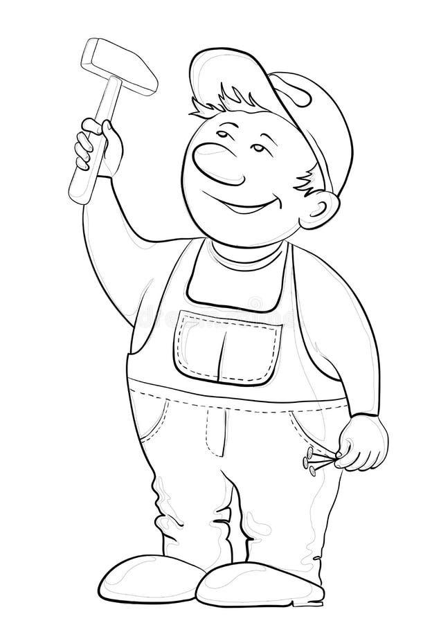 Εργαζόμενος με ένα σφυρί, περιγράμματα ελεύθερη απεικόνιση δικαιώματος