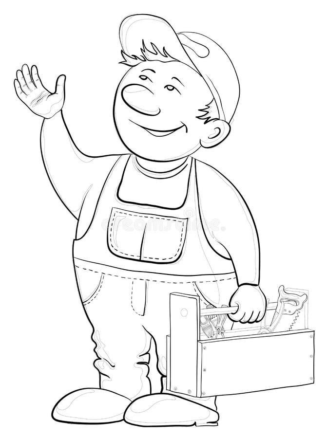 Εργαζόμενος με μια εργαλειοθήκη, περιγράμματα διανυσματική απεικόνιση