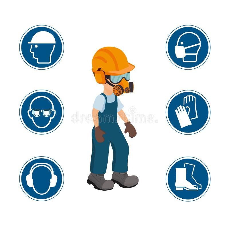 Εργαζόμενος με τα εικονίδια του προσωπικού προστατευτικού εξοπλισμού και ασφάλειας floral ilustration κλίσεων πλαισίου κανένα διά στοκ φωτογραφία με δικαίωμα ελεύθερης χρήσης
