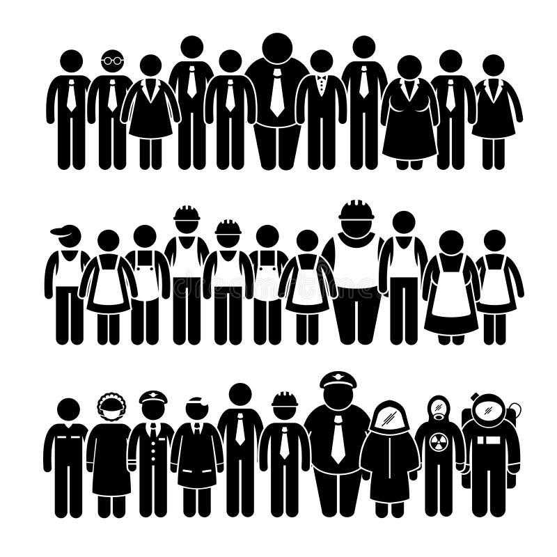 Εργαζόμενος ομάδας ανθρώπων από το διαφορετικό επάγγελμα Cliparts διανυσματική απεικόνιση