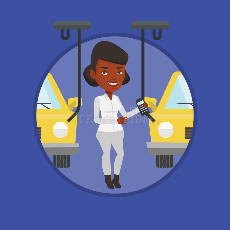 Εργαζόμενος που ελέγχει την αυτοματοποιημένη γραμμή συνελεύσεων για το αυτοκίνητο απεικόνιση αποθεμάτων