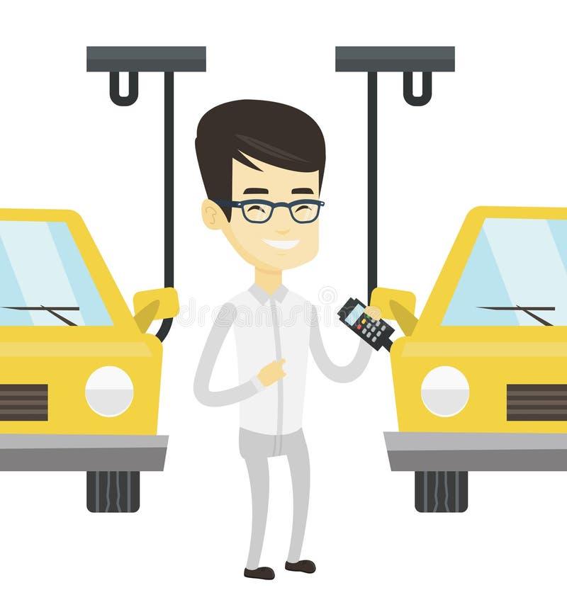 Εργαζόμενος που ελέγχει την αυτοματοποιημένη γραμμή συνελεύσεων για το αυτοκίνητο ελεύθερη απεικόνιση δικαιώματος