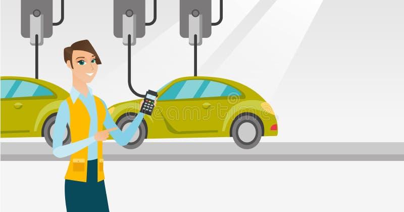 Εργαζόμενος που ελέγχει την αυτοματοποιημένη γραμμή συνελεύσεων για το αυτοκίνητο διανυσματική απεικόνιση