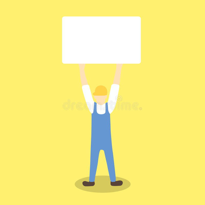 Εργαζόμενος που κρατά ψηλά τον κενό πίνακα όπως τη διαμαρτυρία ή την προειδοποίηση απεικόνιση αποθεμάτων