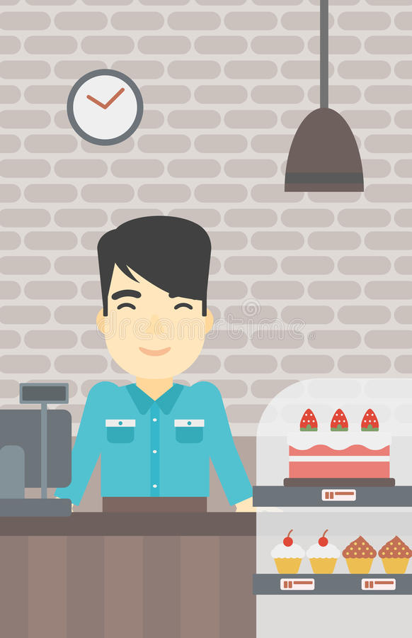 Εργαζόμενος που στέκεται πίσω από το μετρητή στο αρτοποιείο απεικόνιση αποθεμάτων