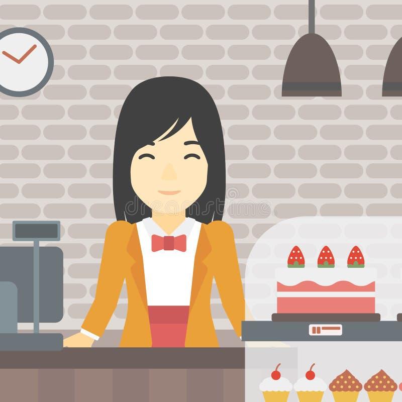 Εργαζόμενος που στέκεται πίσω από το μετρητή στο αρτοποιείο ελεύθερη απεικόνιση δικαιώματος