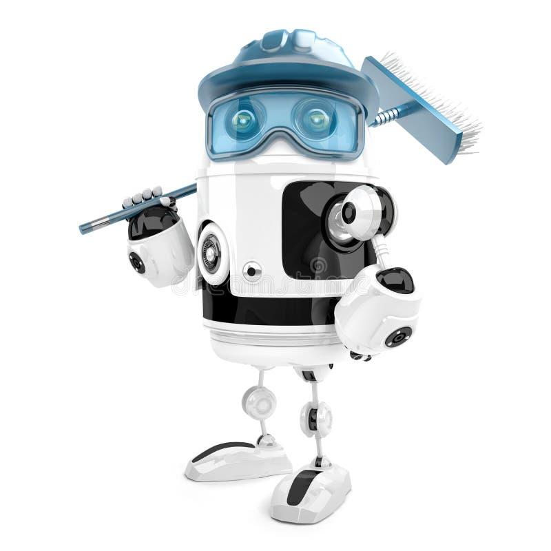 Εργαζόμενος ρομπότ με τη σφουγγαρίστρα Καθαρίζοντας υπηρεσίες Περιέχει το CLI διανυσματική απεικόνιση