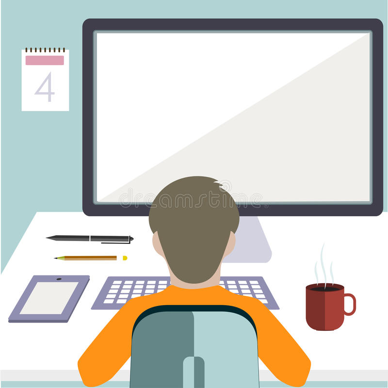 Εργαζόμενος σε έναν υπολογιστή σε ένα επίπεδο ύφος ελεύθερη απεικόνιση δικαιώματος