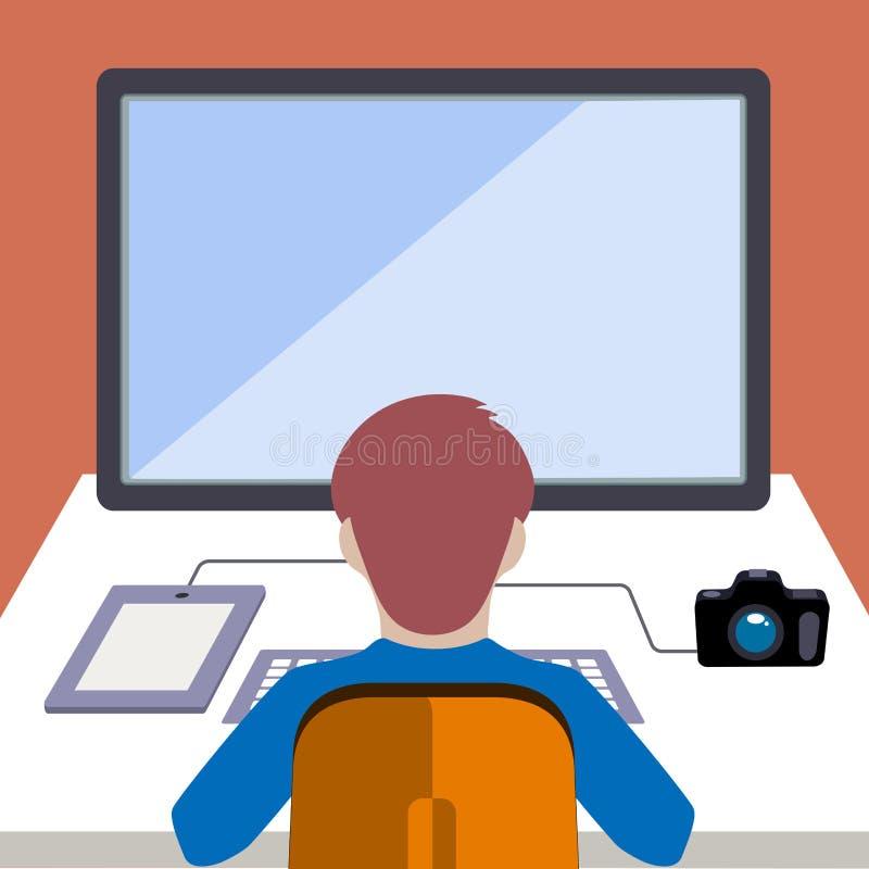 Εργαζόμενος σε έναν υπολογιστή σε ένα επίπεδο ύφος διανυσματική απεικόνιση