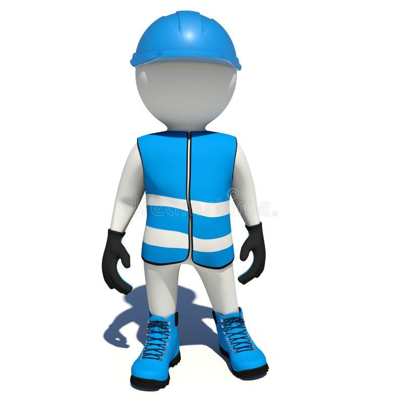 Εργαζόμενος στις μπλε φόρμες απομονωμένος απεικόνιση αποθεμάτων
