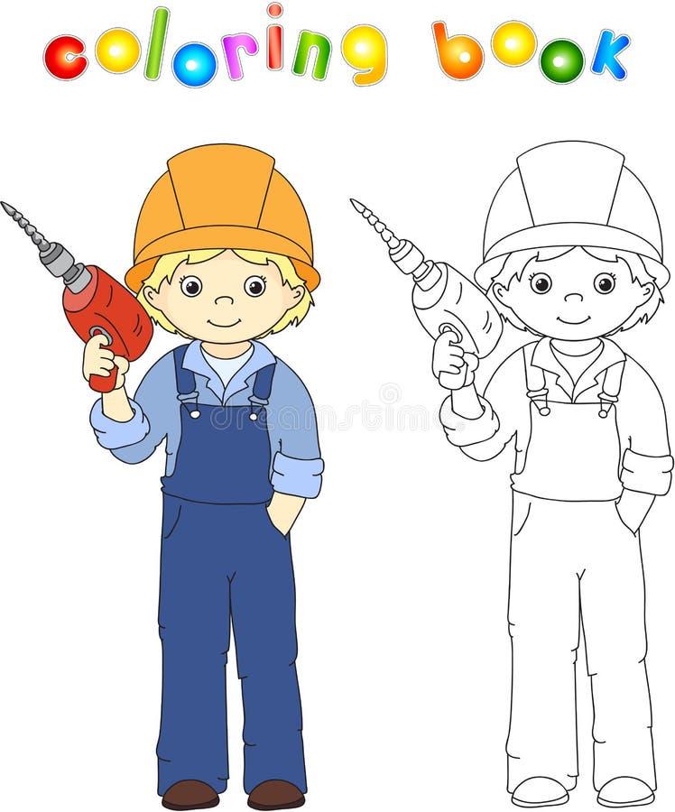 Εργαζόμενος στις φόρμες και κράνος με με το τρυπάνι γραφική απεικόνιση χρωματισμού βιβλίων ζωηρόχρωμη GA διανυσματική απεικόνιση