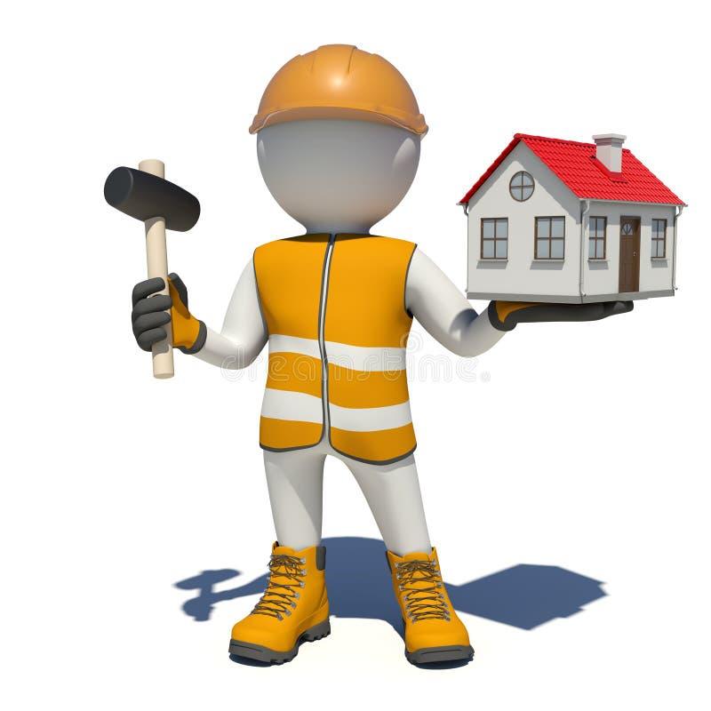 Εργαζόμενος στις φόρμες που κρατά το σφυρί και το μικρό σπίτι διανυσματική απεικόνιση