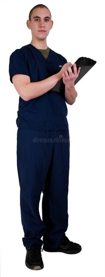 εργαζόμενος στον ιατρι&kapp στοκ εικόνα