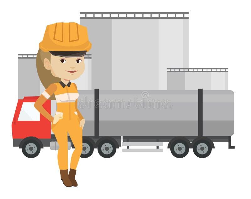Εργαζόμενος στο υπόβαθρο του φορτηγού καυσίμων και των εγκαταστάσεων πετρελαίου διανυσματική απεικόνιση