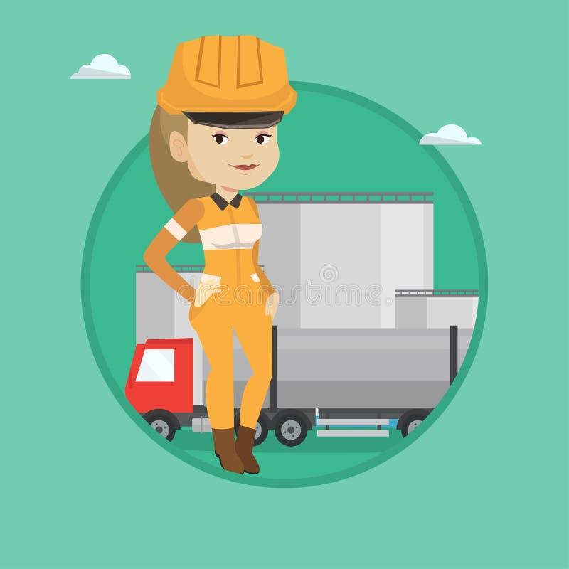 Εργαζόμενος στο υπόβαθρο του φορτηγού καυσίμων και των εγκαταστάσεων πετρελαίου απεικόνιση αποθεμάτων