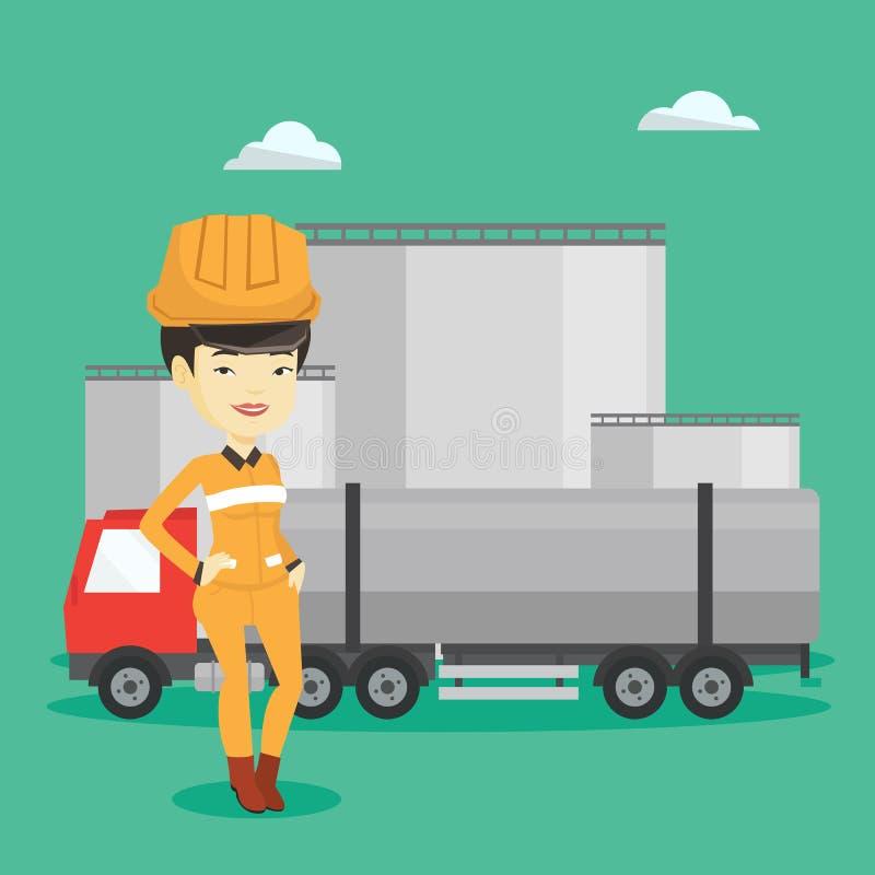 Εργαζόμενος στο υπόβαθρο του φορτηγού καυσίμων και των εγκαταστάσεων πετρελαίου ελεύθερη απεικόνιση δικαιώματος