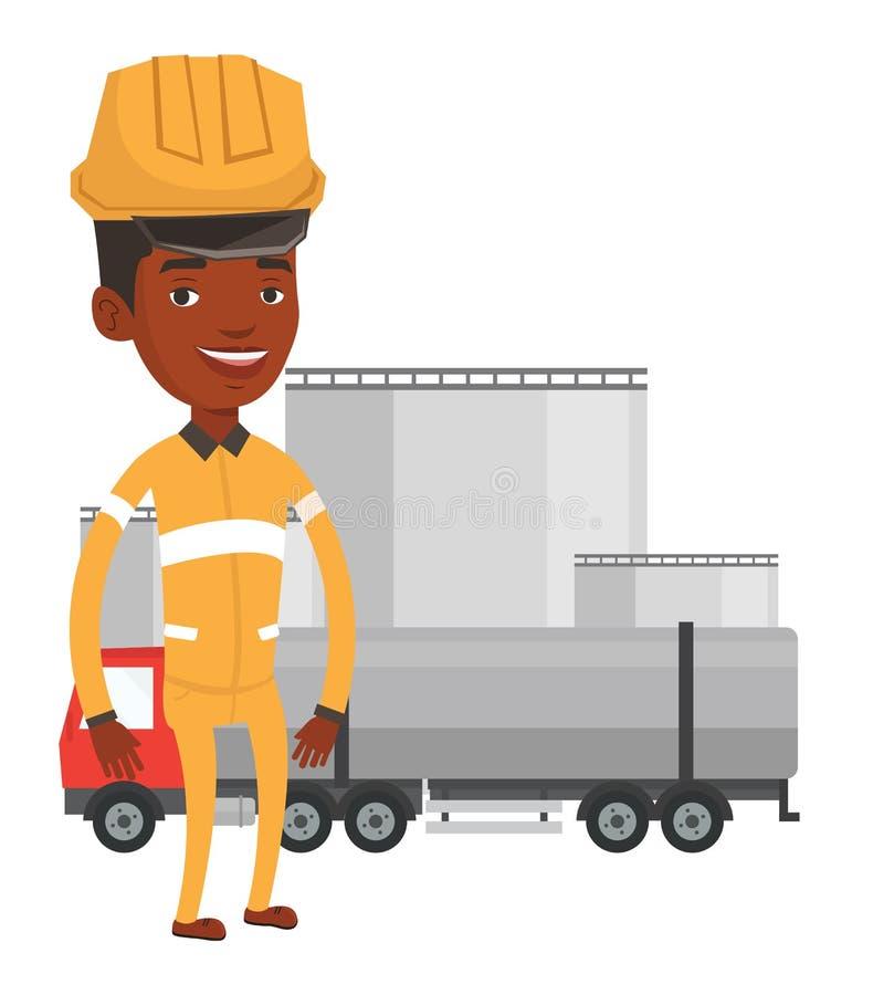 Εργαζόμενος στο υπόβαθρο του φορτηγού καυσίμων ελεύθερη απεικόνιση δικαιώματος