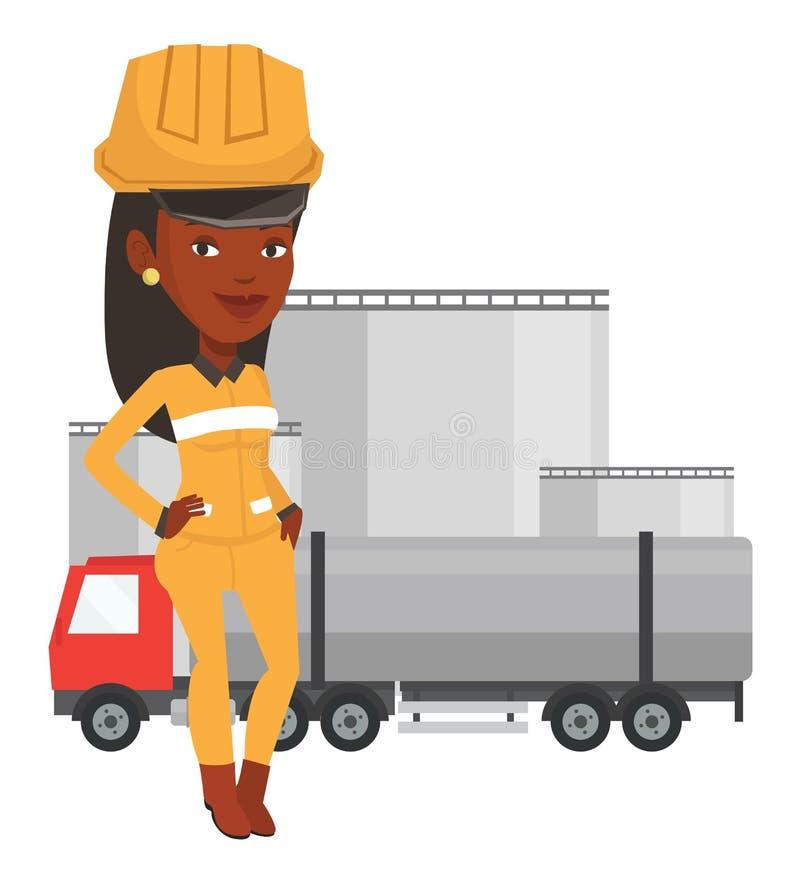 Εργαζόμενος στο υπόβαθρο του φορτηγού καυσίμων διανυσματική απεικόνιση