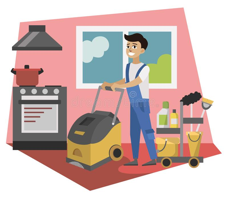 Εργαζόμενος της καθαρίζοντας υπηρεσίας με το πλυντήριο ελεύθερη απεικόνιση δικαιώματος