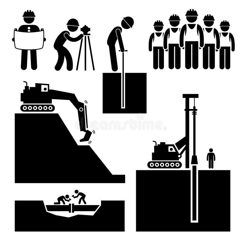 Εργαζόμενος Cliparts χωματουργικών έργων πολιτικού μηχανικού έργων κατασκευής απεικόνιση αποθεμάτων