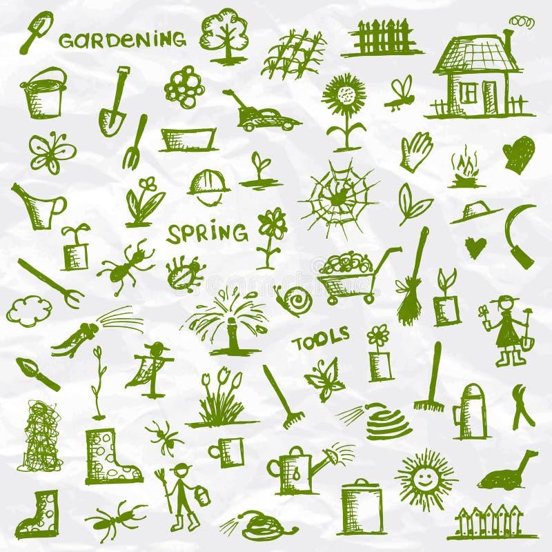 εργαλεία άνοιξη σκίτσων κήπων ελεύθερη απεικόνιση δικαιώματος