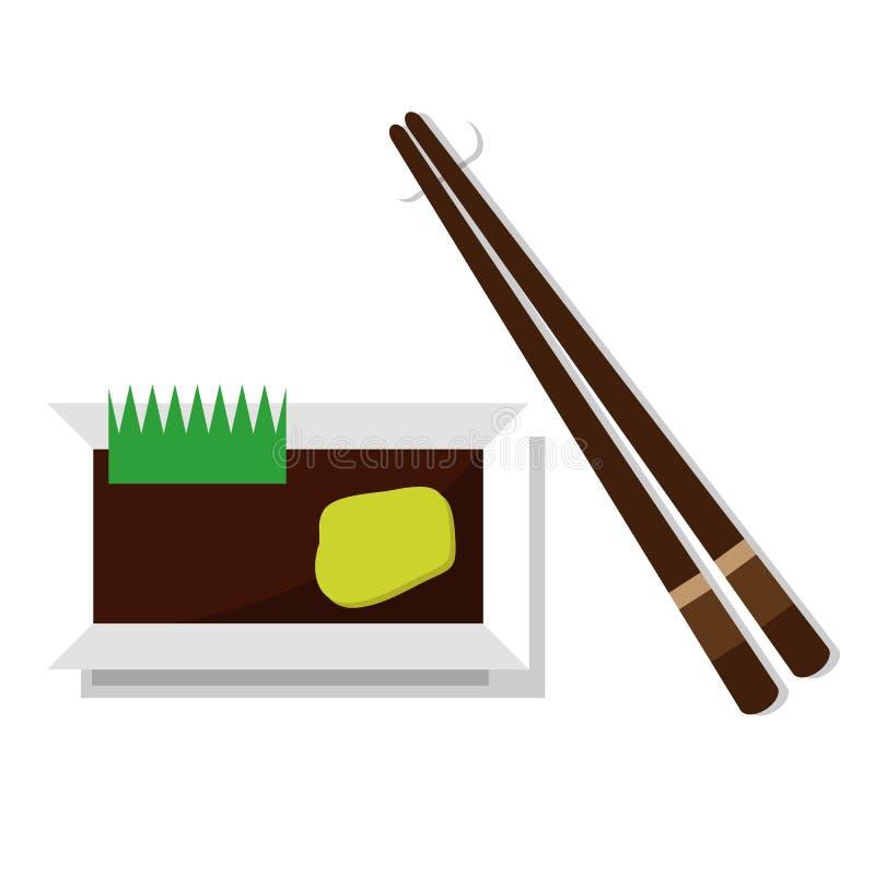 Εργαλεία για τα ιαπωνικά σούσια, chopsticks και το πιατάκι ελεύθερη απεικόνιση δικαιώματος
