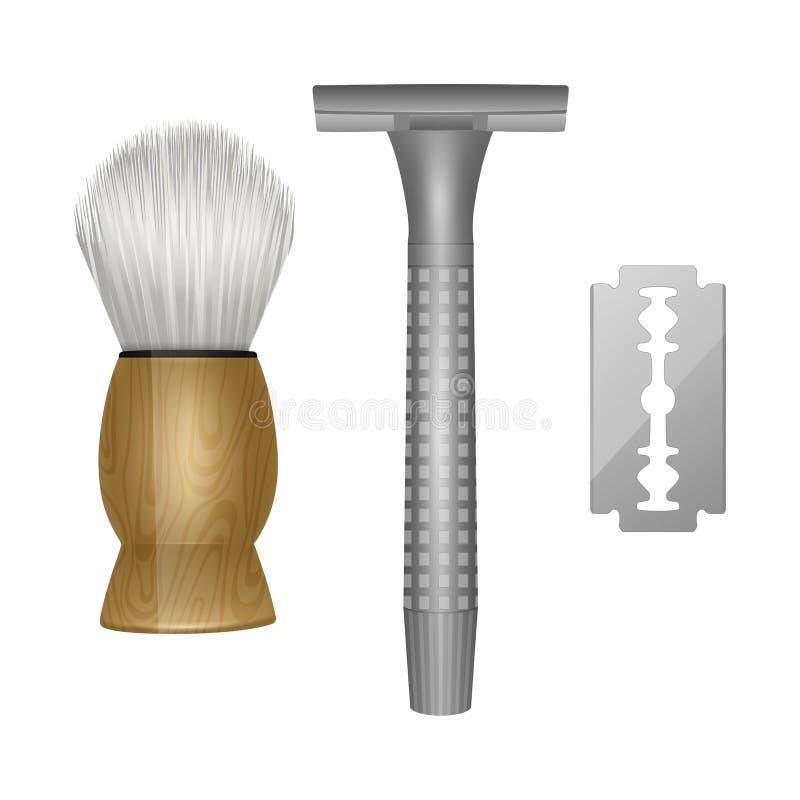 Εργαλεία για την αποκοπή της άνω όψης του κουρείου γενειάδας, εργαλεία κουρείου, ξυράφι και πινέλο ξυρίσματος σε λευκό φόντο απεικόνιση αποθεμάτων