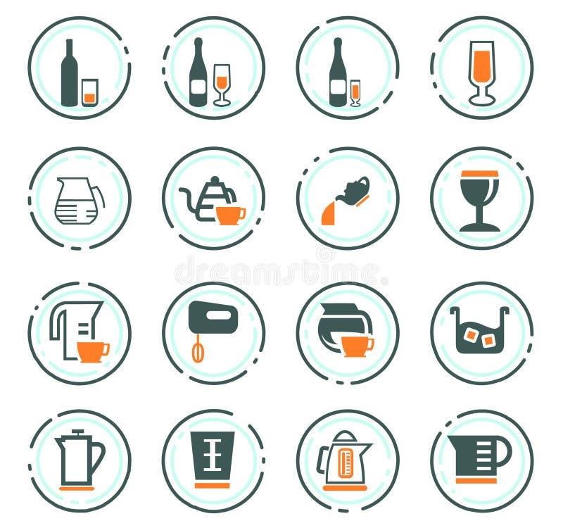Εργαλεία για την προετοιμασία των εικονιδίων ποτών διανυσματική απεικόνιση
