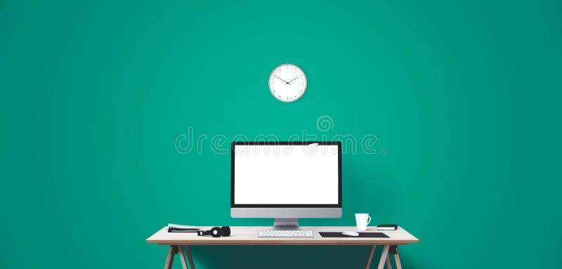 Εργαλεία επίδειξης και γραφείων υπολογιστών στο γραφείο Οθόνη υπολογιστή υπολογιστών γραφείου που απομονώνεται στοκ εικόνα με δικαίωμα ελεύθερης χρήσης