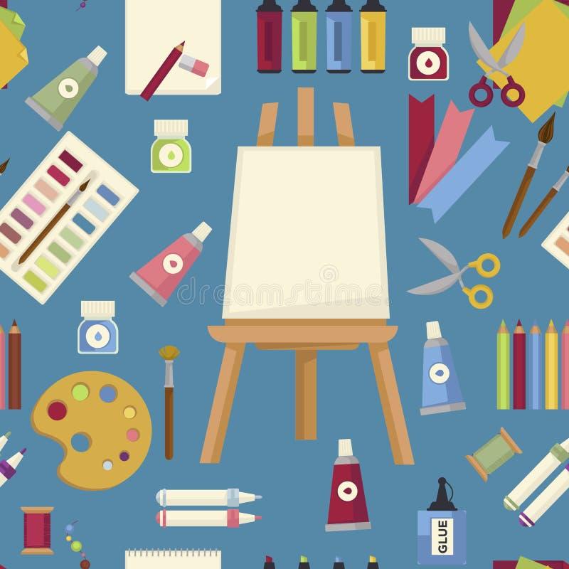 Εργαλεία ζωγραφικής τέχνης και άνευ ραφής easel και χρώμα σχεδίων εξοπλισμού απεικόνιση αποθεμάτων
