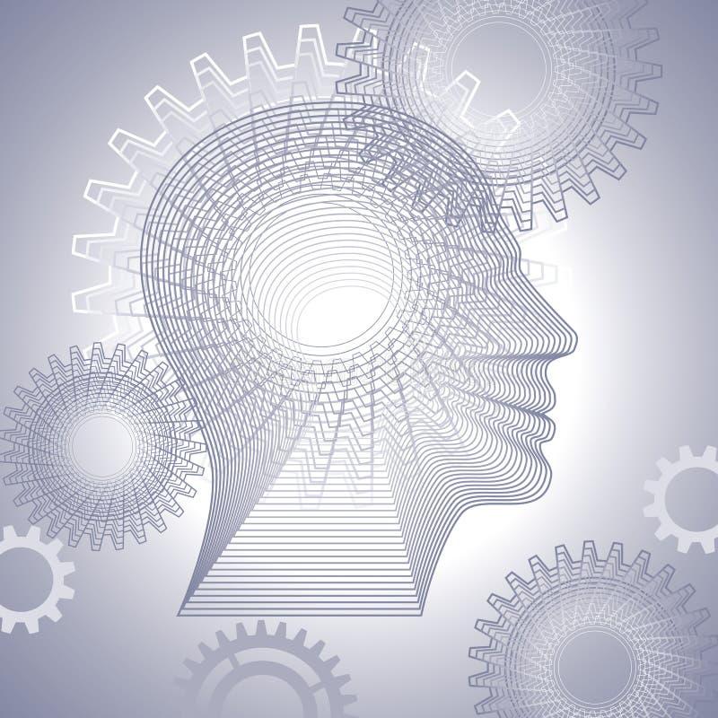 Εργαλεία και ανθρώπινο κεφάλι απεικόνιση αποθεμάτων