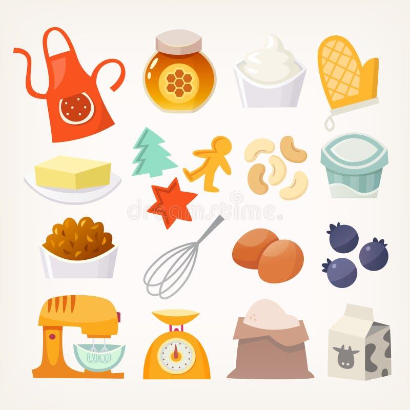 Εργαλεία και προϊόντα κουζινών για το ψήσιμο διανυσματική απεικόνιση