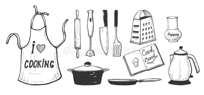Εργαλεία και σκεύος για την κουζίνα κουζινών ελεύθερη απεικόνιση δικαιώματος