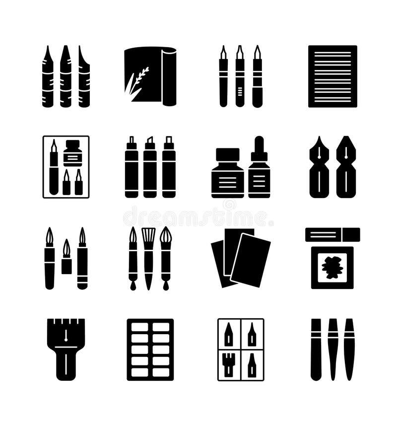 Εργαλεία και υλικά καλλιγραφίας Διανυσματική συλλογή εικονιδίων απεικόνιση αποθεμάτων