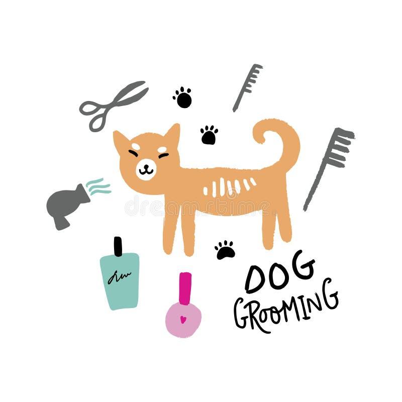 Εργαλεία καλλωπισμού σαλονιών σκυλιών Διανυσματική συρμένη χέρι απεικόνιση, doodle ύφος ελεύθερη απεικόνιση δικαιώματος