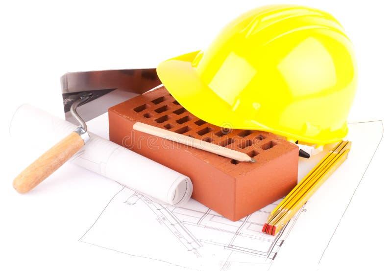 εργαλεία κατασκευής τούβλου στοκ εικόνα με δικαίωμα ελεύθερης χρήσης