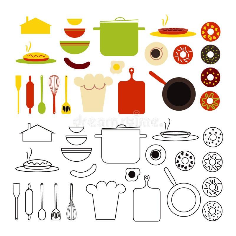 Εργαλεία κουζινών, τρόφιμα και σκιαγραφία σπιτιών που απομονώνεται Στοιχεία για τα προγράμματα DIY, για να δημιουργήσει την αφίσα διανυσματική απεικόνιση