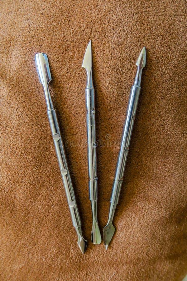 Εργαλεία μανικιούρ και pedicure, προσοχή σωμάτων, ομορφιά γυναικών, σαλόνι στοκ εικόνες