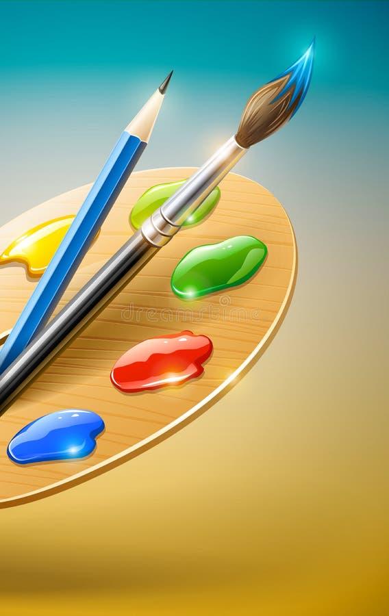 εργαλεία μολυβιών παλετών χρωμάτων βουρτσών τέχνης απεικόνιση αποθεμάτων