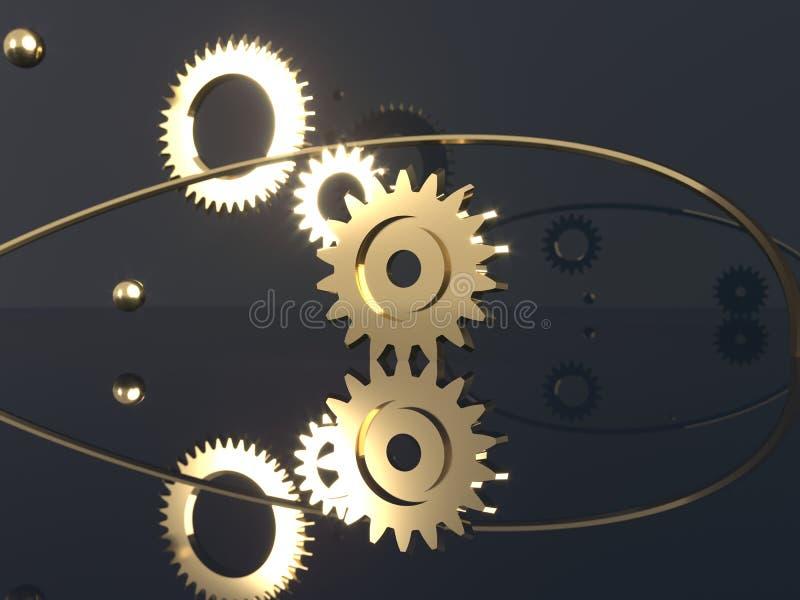 Εργαλεία, πετώντας σφαίρες μετάλλων και χρυσά δαχτυλίδια Μηχανικά μέρη μηχανών ελεύθερη απεικόνιση δικαιώματος