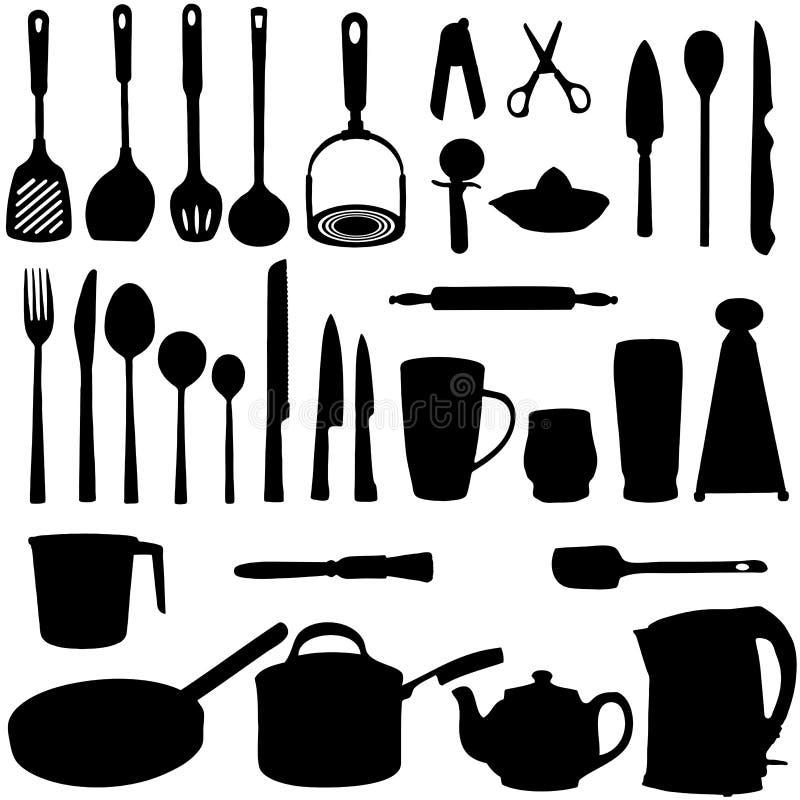 εργαλεία σκιαγραφιών κουζινών διανυσματική απεικόνιση