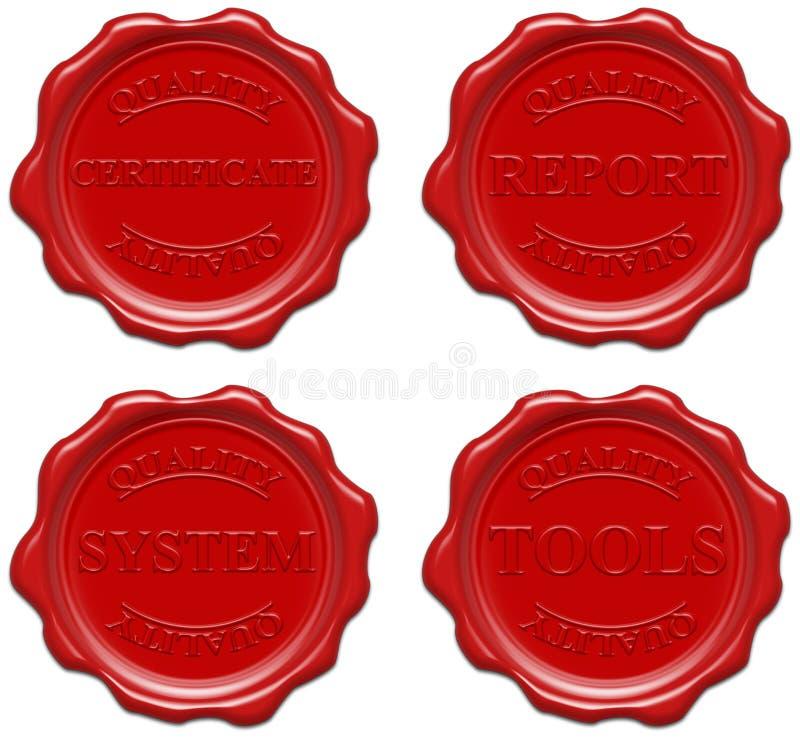 εργαλεία συστημάτων ποιοτικών τα κόκκινα εκθέσεων πιστοποιητικών κηρώνουν ελεύθερη απεικόνιση δικαιώματος