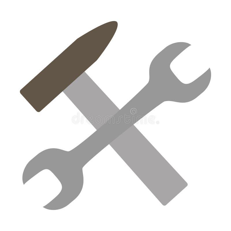 Εργαλεία σφυριών γαλλικών κλειδιών ελεύθερη απεικόνιση δικαιώματος