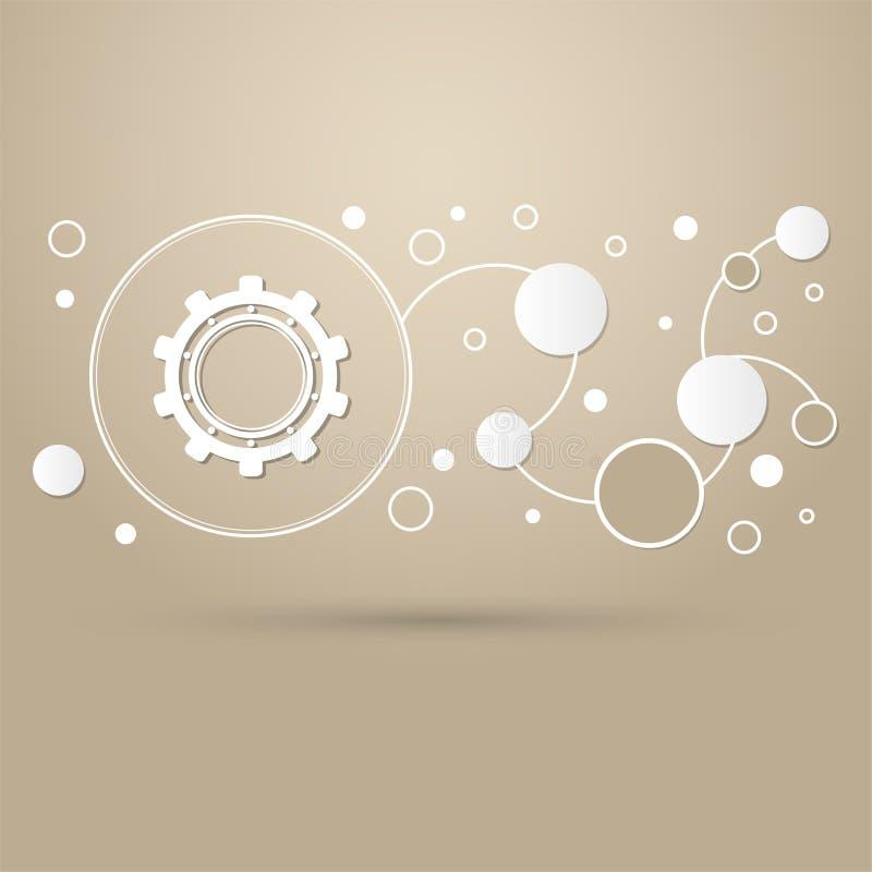Εργαλείο, εικονίδιο βαραίνω σε ένα καφετί υπόβαθρο με το κομψό ύφος και σύγχρονο σχέδιο infographic διανυσματική απεικόνιση