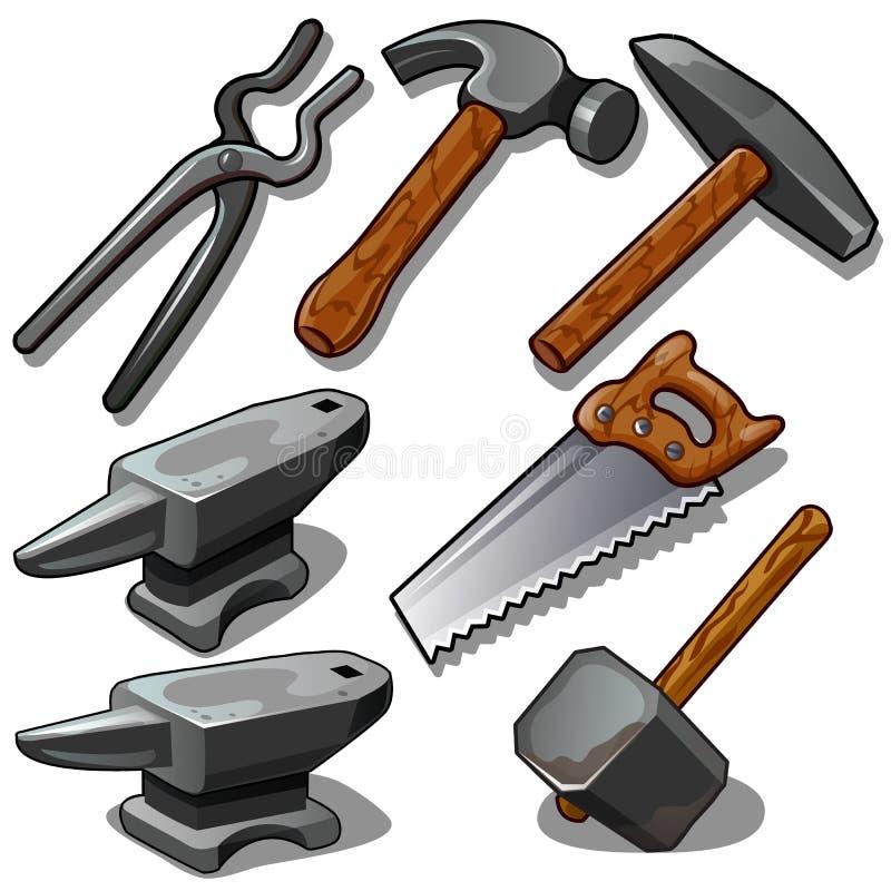 Εργαλείο εργασίας του σιδηρουργού και του ξυλουργού Επτά εικονίδια που απομονώνονται στο άσπρο υπόβαθρο Διάνυσμα στο ύφος κινούμε απεικόνιση αποθεμάτων