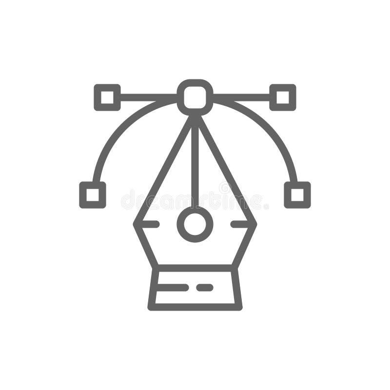 Εργαλείο μανδρών, υπολογιστής γραφικός, σημείο ελέγχου καμπυλών, σχέδιο, εικονίδιο γραμμών τέχνης απεικόνιση αποθεμάτων