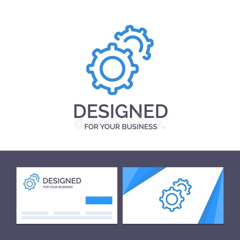 Εργαλείο, οδοντωτοί τροχοί, ρύθμιση απεικόνισης διανύσματος Creative Business Card και πρότυπο λογότυπου απεικόνιση αποθεμάτων